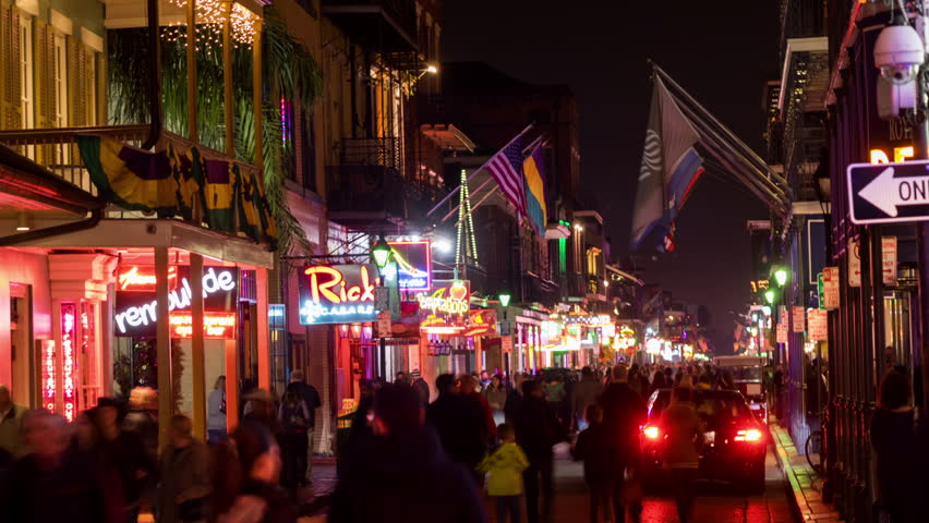 NEW ORLEANS - 31 JAN: Timelapse view of Bourbon Street from above. Bourbon Street is a popular entertainment area that attracts visitors from all over the world on 31 January 2014 in New Orleans, USA | Shutterstock HD Video #14232143