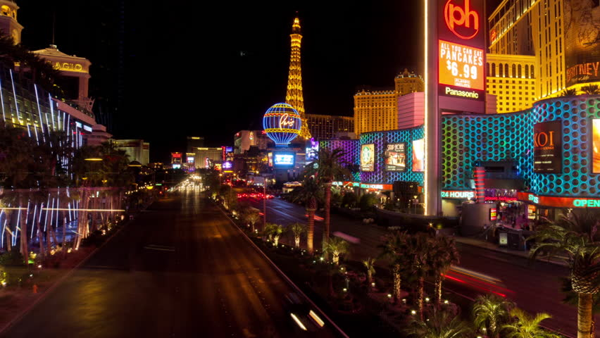 LAS VEGAS - FEB 2014: Itimelapse view over Las Vegas Strip and Bellagio fountain at night on 14 February 2014 in Las Vegas USA | Shutterstock HD Video #14232506