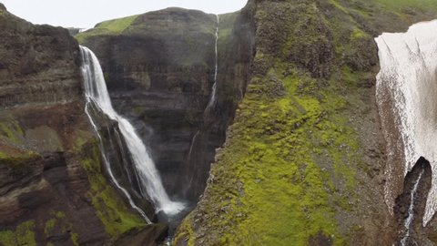WS POV HA Landscape with waterfall in ravine and moss area / Skogar, Iceland - 07/11/2014
