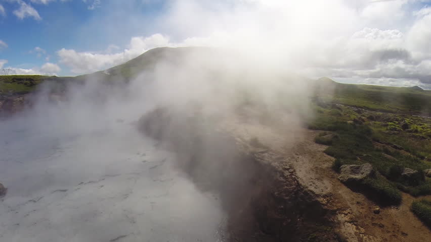 WS AERIAL POV Hot spring area / Reykjadalur, Iceland - 07/08/2014 | Shutterstock HD Video #14245241