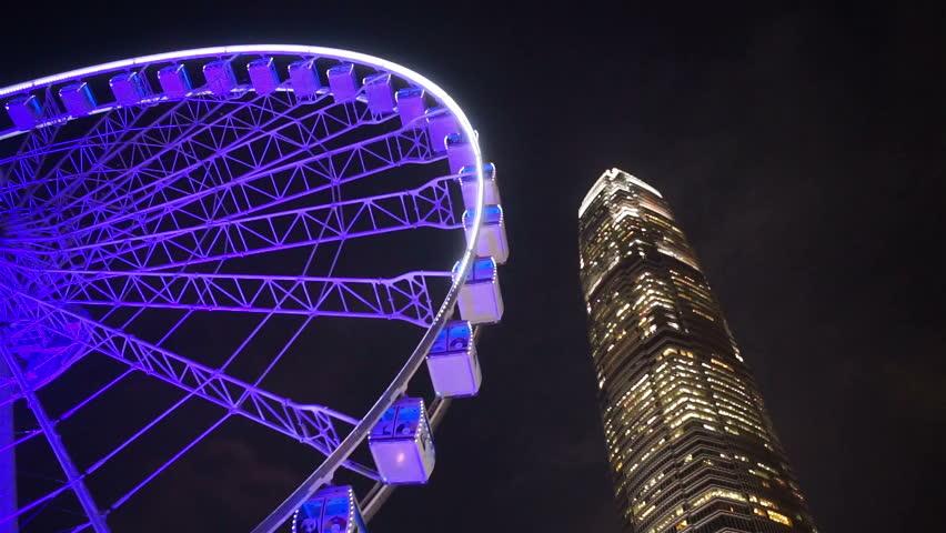 Hong Kong, China - CIRCA Nov 2015, IFC tower with ferries wheel at central, financial district of Hong Kong. | Shutterstock HD Video #14257271