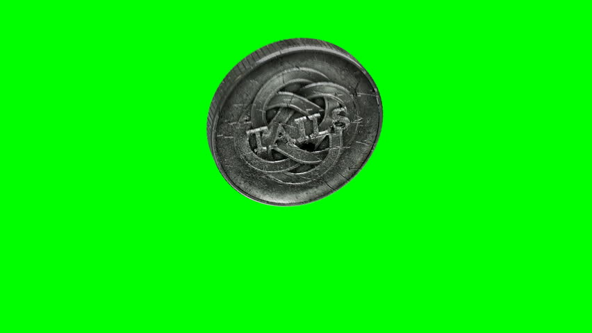 A worn antique silver coin with a heads and tails side flipping into the air on a green screen background | Shutterstock HD Video #14263559