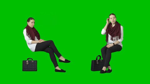 Pretty brunette girl sits in red scarf. Footage with alpha channel. File format - .mov. Codec - PNG+Alpha. Combine these footage with your background or other people