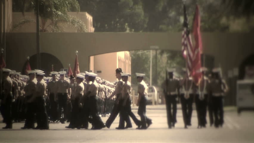 MCRD San Diego, CA - Marching straight towards camera (left side of frame)