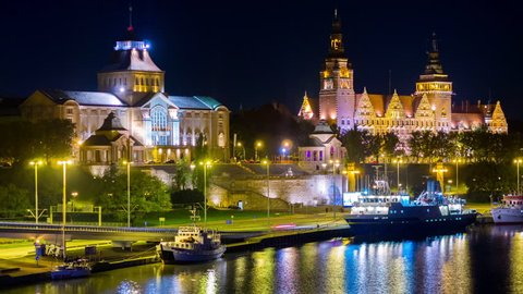 SZCZECIN - 28 NOV: Timelapse of Szczecin or Stettin city landmarks by night in Poland on 28 November 2013 in Szczecin, Poland