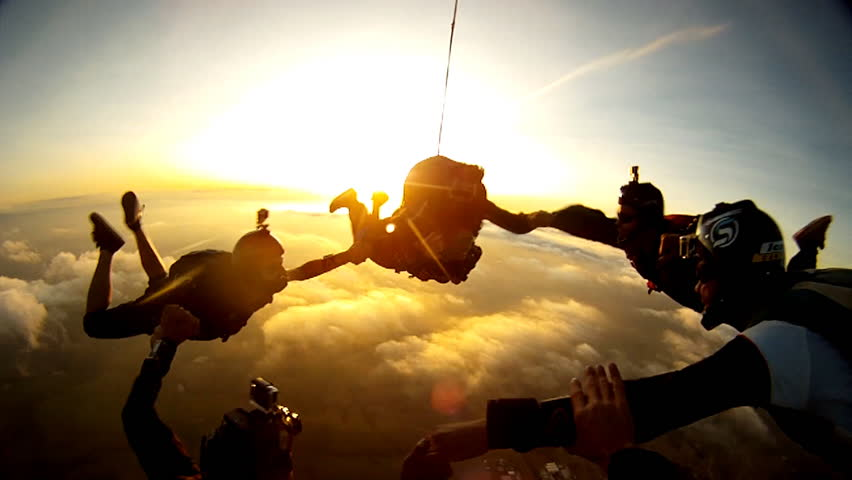 Skydiving tandem group  | Shutterstock HD Video #14295976