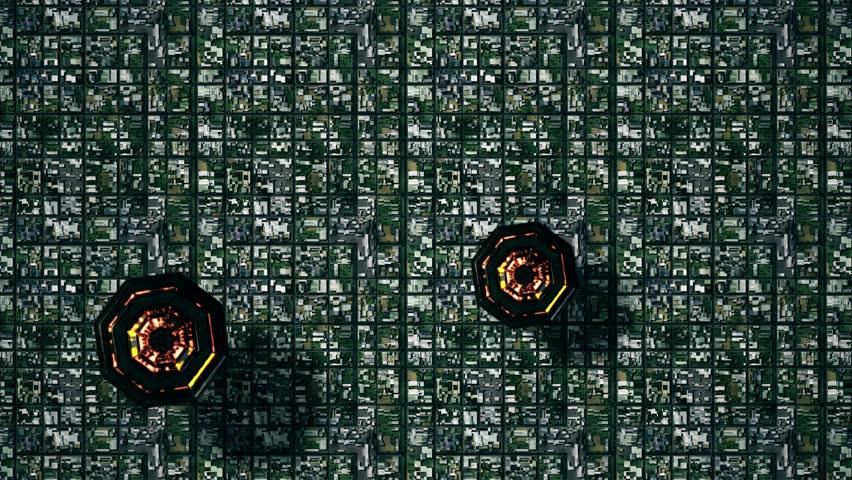 K Satellite View Of Multicolor UFO Invasion Over Suburban Area - Satellite footage