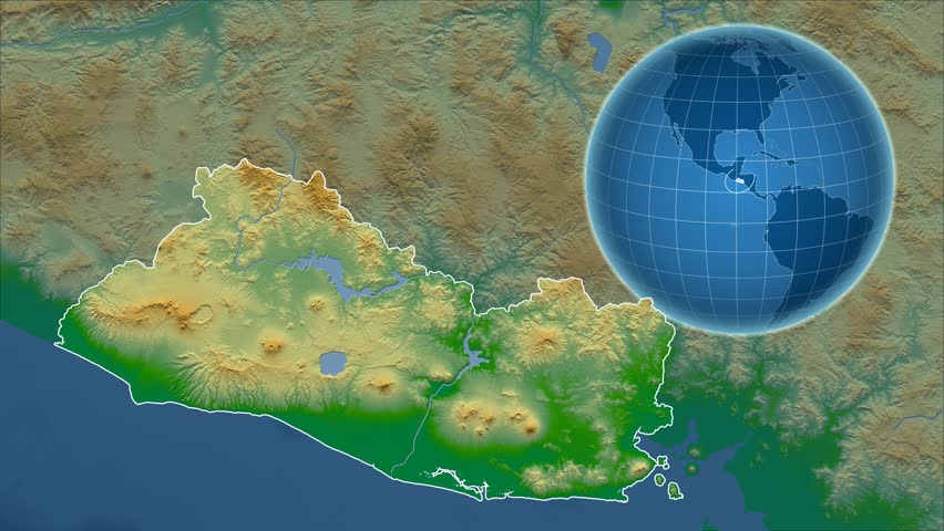 El Salvador Shape Animated On The Admin Map Of The Globe Stock - El salvador earth map