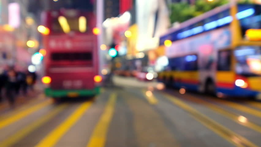 Blurred video of crowded city street with people and transport at crossroad. Hong Kong night life | Shutterstock HD Video #14386351
