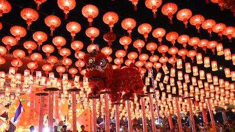 SamutPrakan, THAILAND - February 6,2016:Lion dance in action during Chinese New Year (CNY) celebration in Samut Prakan,