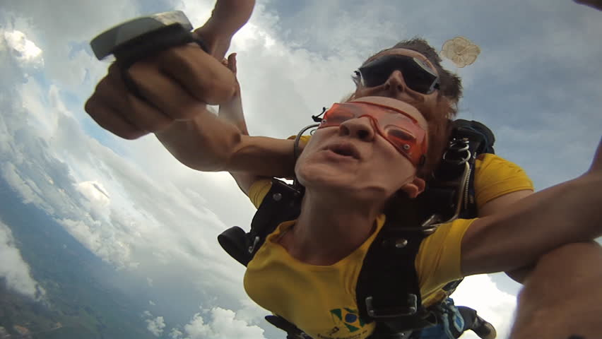 Skydiving tandem couple