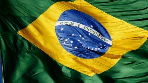 Brazilian Flag waving - Slow - Brazil. Olympic Games, Rio de Janeiro