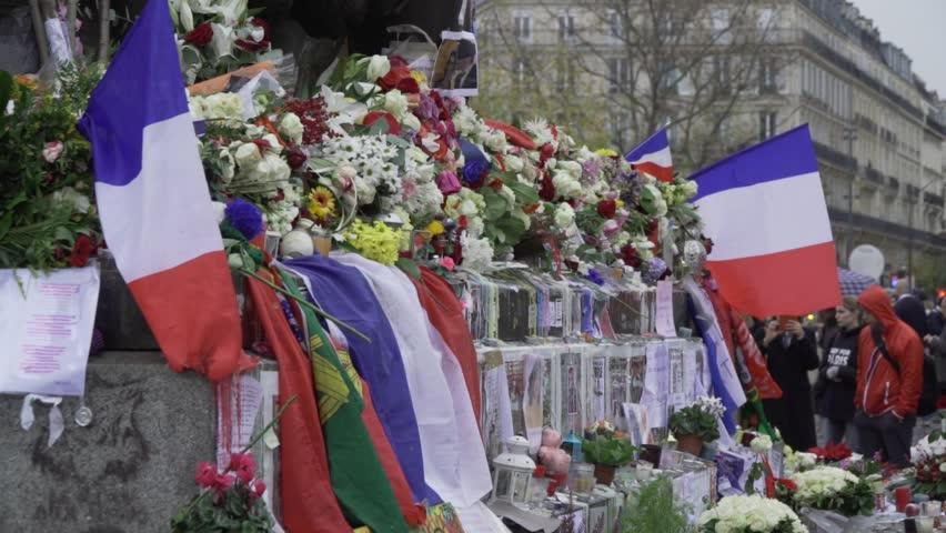 Paris terror attacks - Shrine place de la République Shrine and flowers on place de la République after Paris terror attacks on November 13, 2015