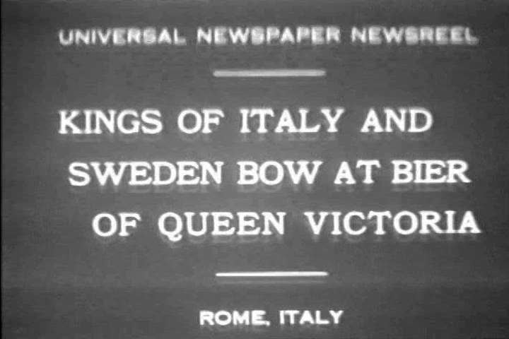 CIRCA 1920s - Kings of Italy, Sweden attend funeral for Queen Victoria of Baden in the 1920s.