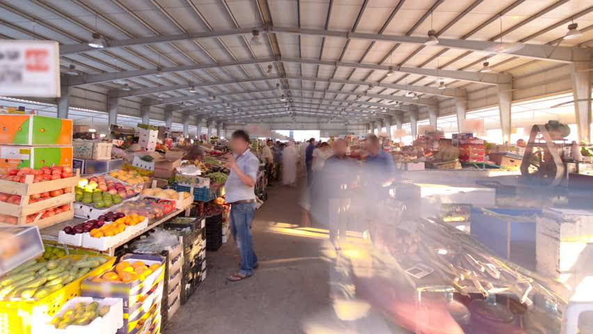 Fruit market in the emirate of Ajman timelapse.  United Arab Emirates