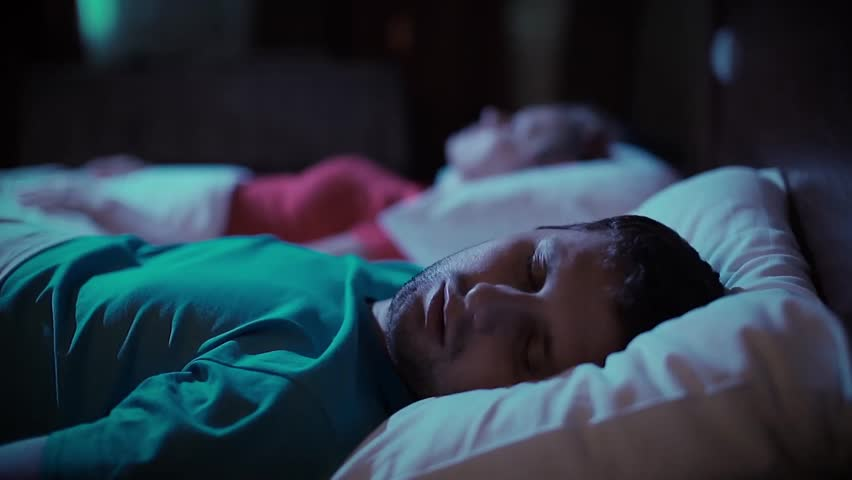 Snoring man. Couple in bed | Shutterstock HD Video #14471011