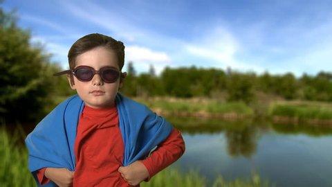 kid playing super hero