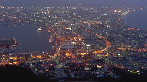 The night view from Mt. Hakodate, Hakodate City, Hokkaido, Japan.