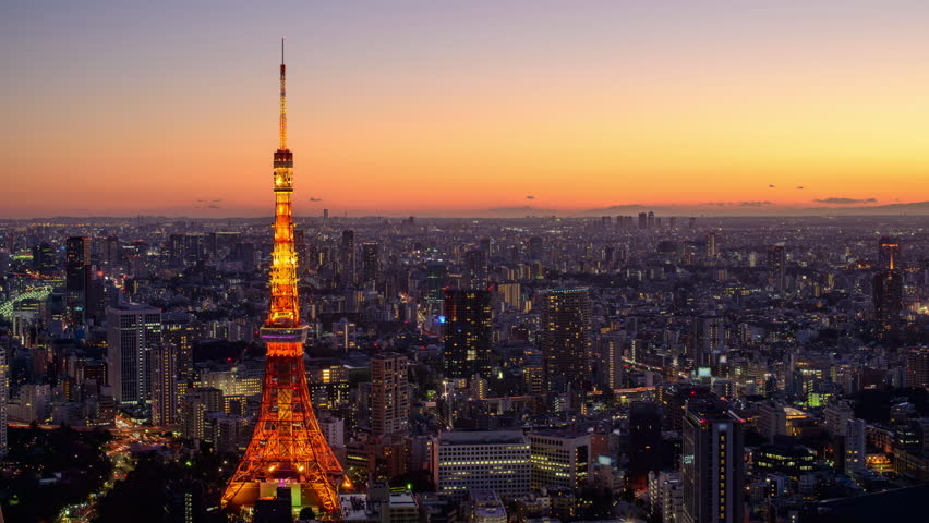 Tokyo, Japan cityscape time lapse at Tokyo Tower.