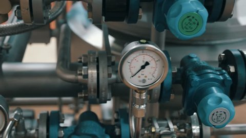 Modern complex technological industrial equipment. A plurality of pipelines, pumps, filters, gauges, sensors, motors and other parts of. Shot in motion