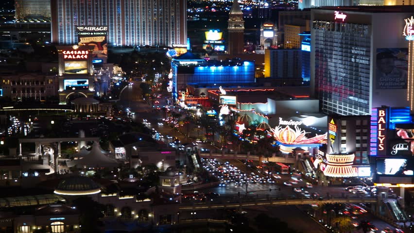 LAS VEGAS, NEVADA - OCT 7: (Time lapse view) Caesars Palace, Bellagio and Paris resorts on the strip on Oct 7, 2011 in Las Vegas, Nevada.  | Shutterstock HD Video #1458181