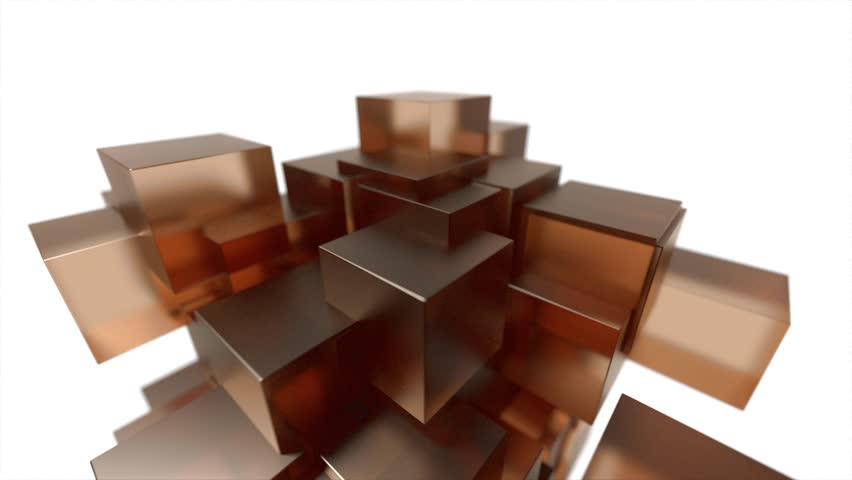 Glass blocks cubes floating interlocking abstract tech motion background loop 4k | Shutterstock HD Video #14592811