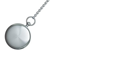 Pendulum of pocket watch on a white background. Looping. Alpha channel.