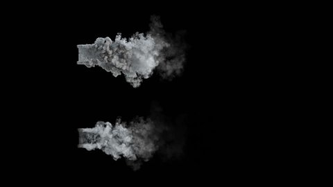 4k top view of dust or smoke trail behind car  (uhd 3840x2160, ultra high definition, 1920x1080, 1080p)  two different densities, soft and very dense, isolated on black background, with alpha
