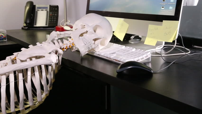Skeleton At Desk Picture Hostgarcia