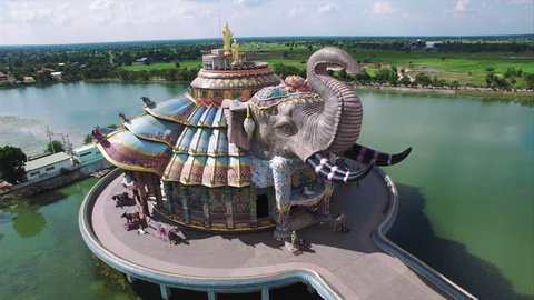 Elephant Temple, in Dan Khun Tod district of Nakhon Ratchasima, Korat, Thailand. Asia's largest ceramic mosaic shrine and was hand-made by using more than 20 million pieces of mosaic. (Thailand 2015)