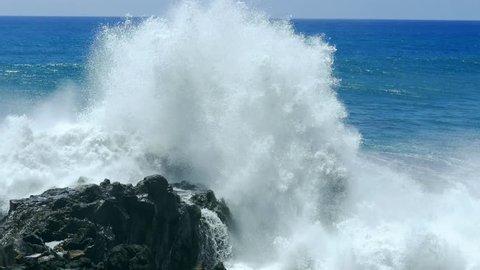 Sea Powerful Waves Crashing Rock Nature Travel Horizon Tourism Vacation Footage Breaking Water Storm Hawaii Huge Danger High Tide