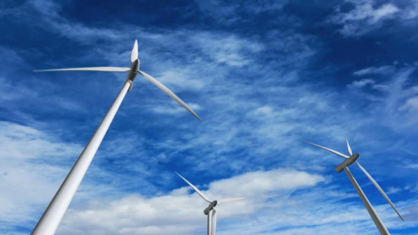 Wind turbines at sunset, green energy. | Shutterstock HD Video #147127