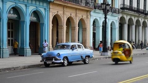 HAVANA, CUBA - CIRCA 2016 - La Habana Vieja (Old Havana), Paseo de Marti, classic 1950's American Cars