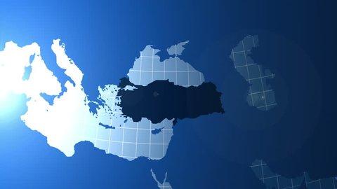 Turkey. Zooming into Turkey on the globe.