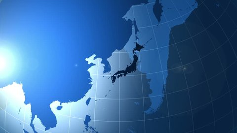 Japan. Zooming into Japan on the globe.