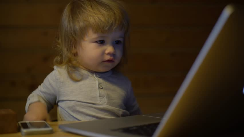 Blond baby working with laptop in a wooden house | Shutterstock HD Video #14765434