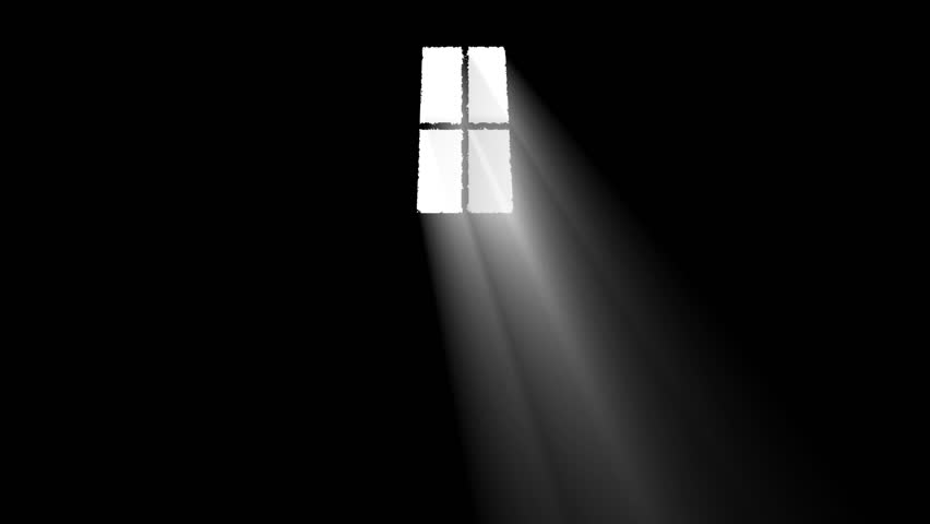 Bright Light Rays Get Inside a Dark Room Through a Window In a Cartoon  Style -