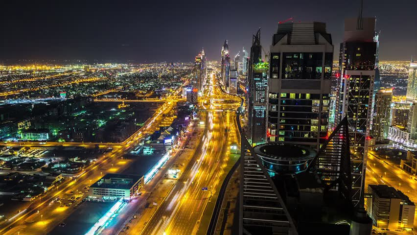 Timelapse aerial view of downtown Dubai at night, United Arab Emirates. Time lapse video   Shutterstock HD Video #14773717