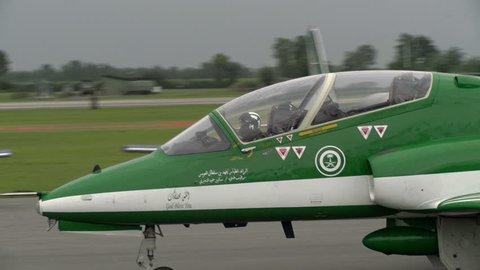 RIVOLTO, ITALY, SEPTEMBER 6:  Saudi Arabia airplanes ready for aerobatic demonstration, on September 6, 2015 in Rivolto, Italy