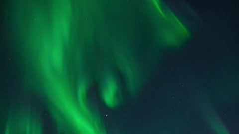 Northern lights (Aurora Borealis) in a cloudless night sky