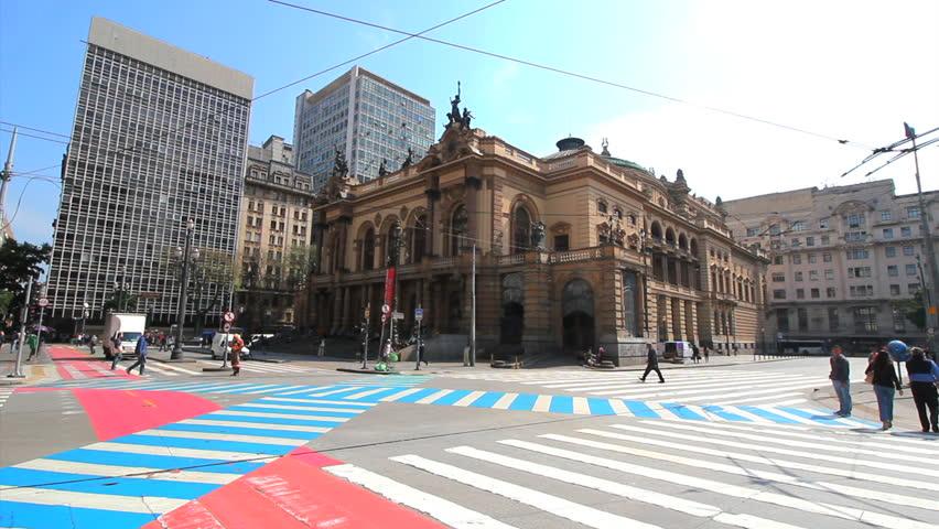 SAO PAULO, BRAZIL. CIRCA JANUARY 2016: Municipal Theatre Of Sao Paulo, Brazil. One Of The Landmarks Of The City. Cross.