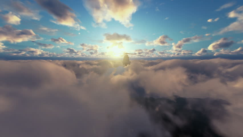 Military Helicopter surveilling above clouds at sunset | Shutterstock HD Video #14879431