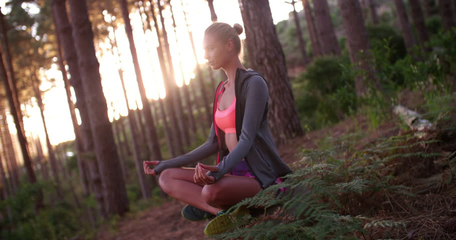 Sporty woman sitting cross-legged in a yoga meditation pose in a tranquil forest with early morning light #14889331