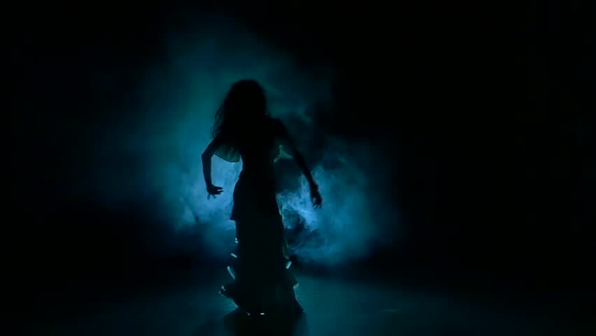 Beautiful exotic belly dancer girl shaking her hips, on black, slow motion, silhouette, smoke #14892961