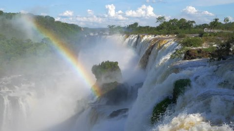 Iguazu Falls, one of the world's great natural wonders, on the border of Argentina and Brazil - zoom out.