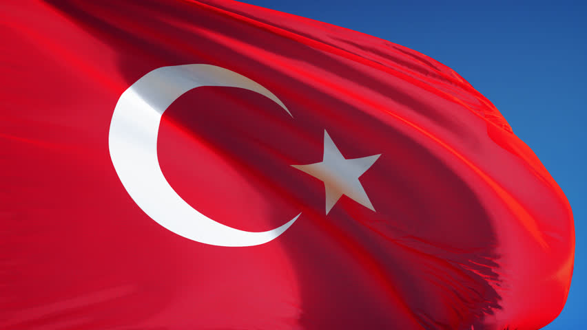 Turkey flag waving in slow motion against clean blue sky, seamlessly looped, close up, isolated on alpha channel with black and white luminance matte, perfect for film, news, digital composition