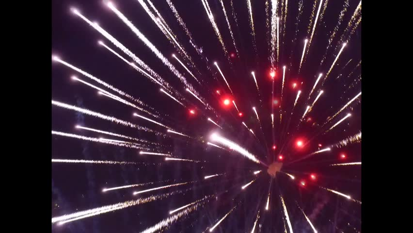 Drone flying above fireworks. drone take firework. drone flying into center firework.   Shutterstock HD Video #14962015