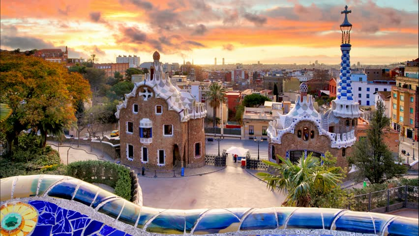 Barcelona, Park Guell, Spain - nobody, Time lapse | Shutterstock HD Video #14963101