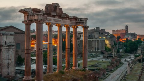 Aerial view of Roman forum in Rome, Italy in the morning. Time-lapse of a popular landmark. Cloudy sky