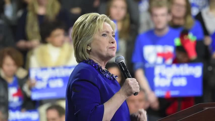 NEW YORK CITY - MARCH 2 2016: Democratic presidential candidate Hillary Rodham Clinton marked her victory in Super Tuesday's primaries with a speech to supporters at Jacob Javits Center in Manhattan